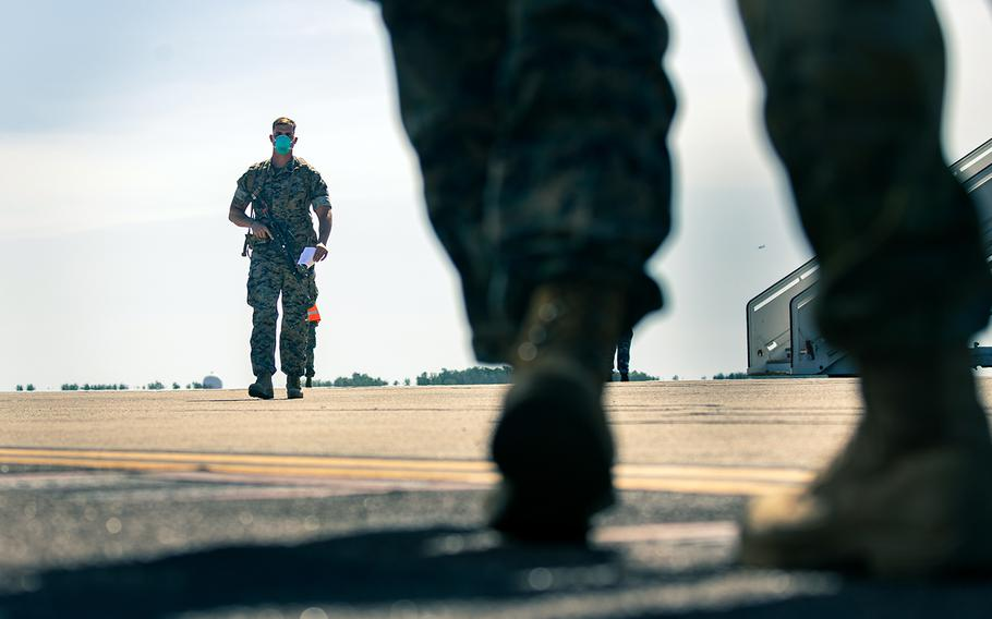 U.S. Marines arrive at Royal Australian Air Force Base Darwin, Northern Territory, Australia, July 8, 2020.
