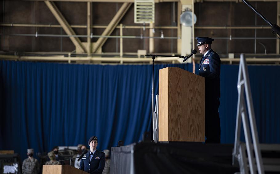 Col. Jesse Friedel speaks to airmen after taking command of the 35th Fighter Wing at Misawa Air Base, Japan, Monday, July 13, 2020. Before arriving in Japan, he served as vice commander of the 51st Fighter Wing at Osan Air Base, South Korea.