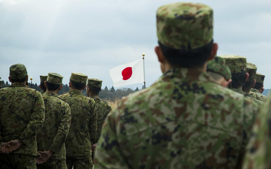 Japan Ground Self-Defense Force members stand in formation during the opening ceremony for the Forest Light exercise at Camp Oyanohara in Kyushu, Japan, Jan. 18, 2020.