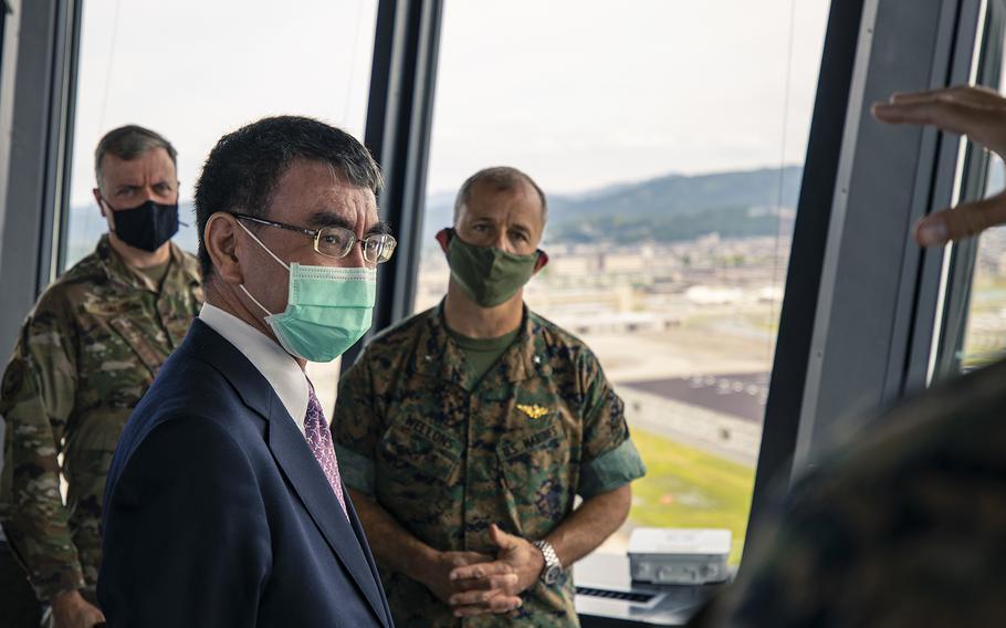 Japanese Defense Minister Taro Kono visits Marine Corps Air Station Iwakuni, Japan, June 20, 2020.