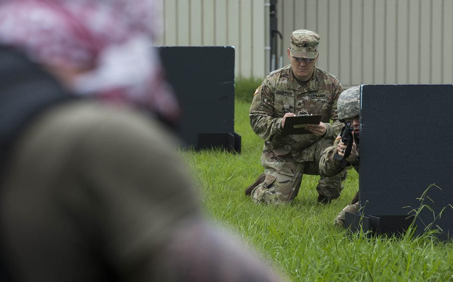 Soldiers take part in a best-warrior competition for U.S. Army Japan at Sagami General Depot outside Tokyo, Tuesday, July 21, 2020.