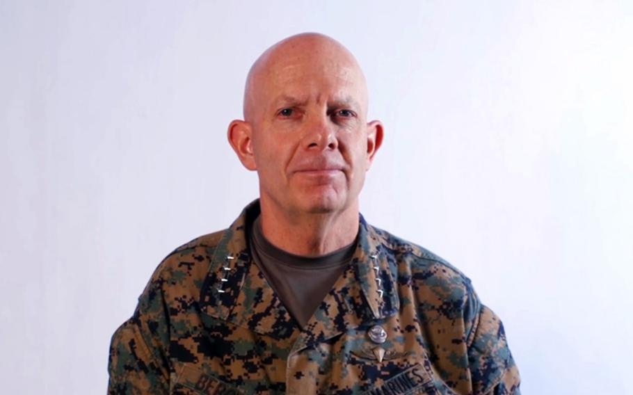 Marine Corps Commandant Gen. David Berger speaks during a virtual change-of-command ceremony for U.S. Marine Corps Forces Pacific, July 16, 2020.