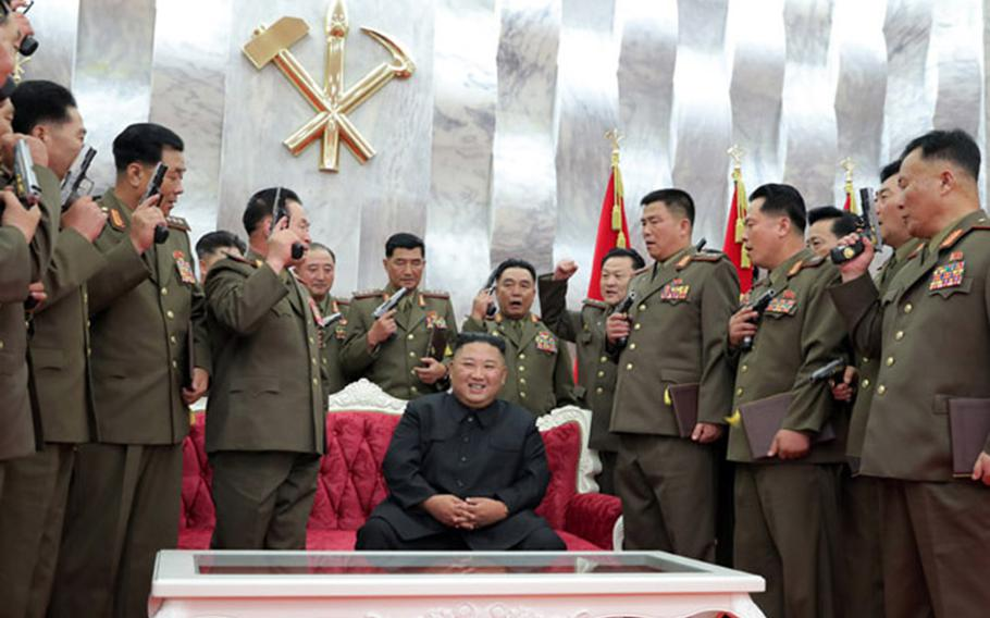 North Korean leader Kim Jong Un gave commemorative pistols to his military leaders on the 67th anniversary of the end of the Korean War, the Korean Central News Agency reported Monday, July 27, 2020.