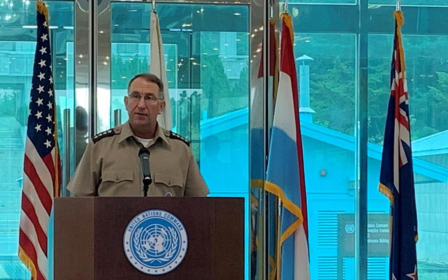 Gen. Robert Abrams, commander of U.S. Forces Korea and United Nations Command, marks the 67th anniversary of the end of the Korean War during a speech on the South Korean side of the truce village of Panmunjom, Monday, July 27, 2020.