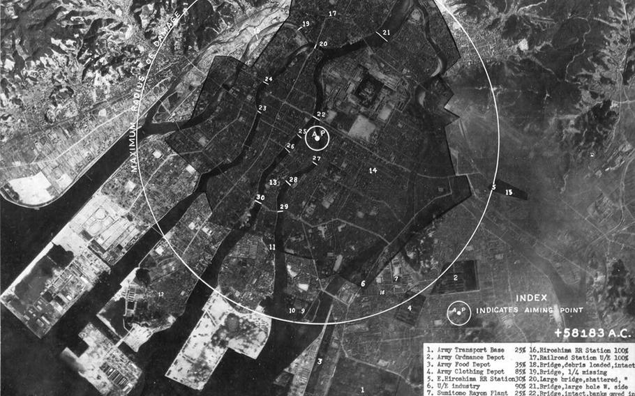 A photograph of damage done to Hiroshima, Japan, on Aug. 6, 1945, and delivered Aug. 8, 1945, to President Harry Truman as part of the first report of the effects of the atomic bomb.