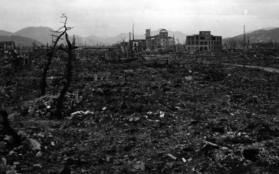 This photograph taken several months after an atomic bomb was dropped on Hiroshima, Japan, on Aug. 6, 1945, shows the utter decimation of the city.