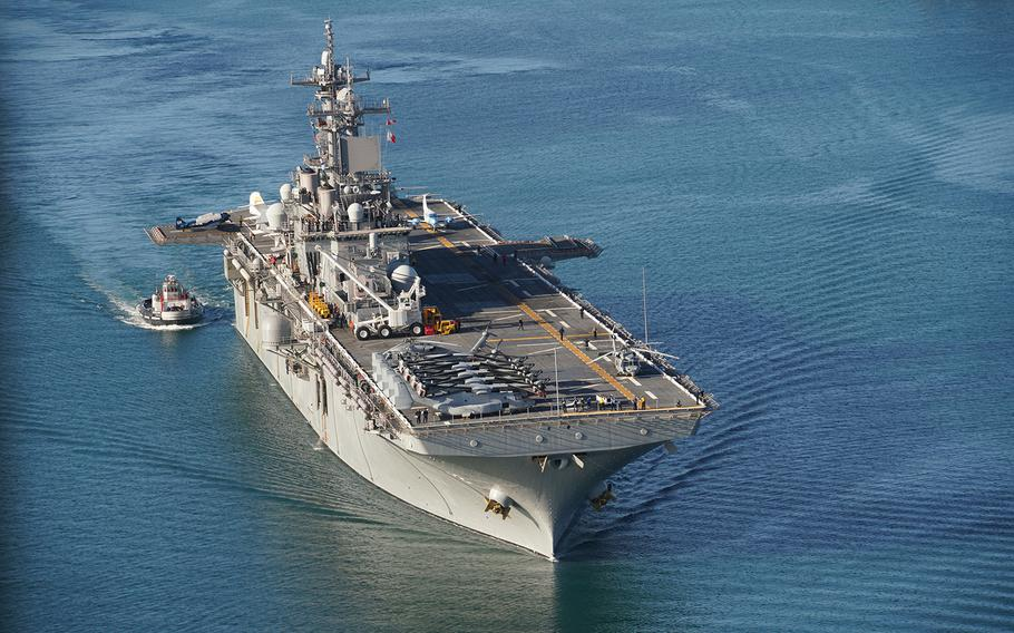 The USS Essex arrives in Hawaii on Aug. 10, 2020, for participation in the Rim of the Pacific maritime exercise running through the end of the month.