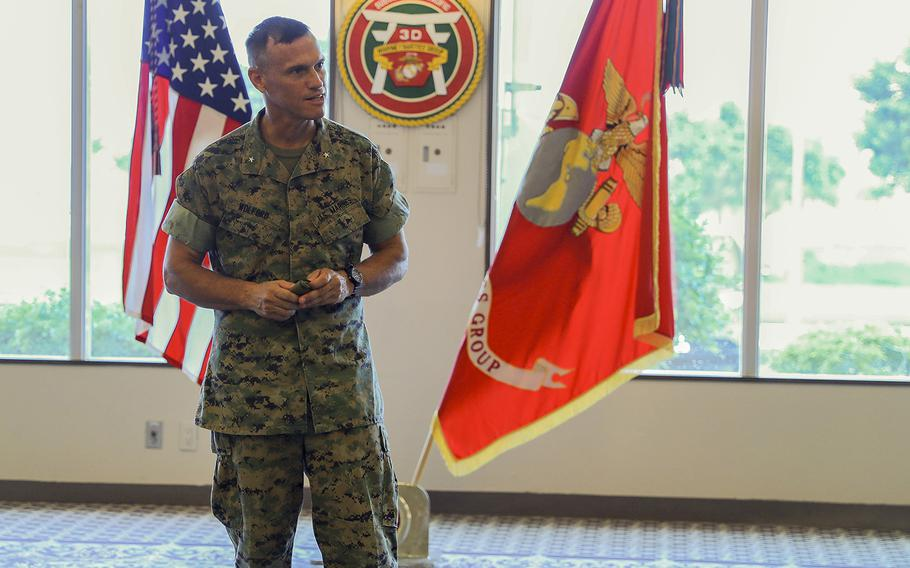 Marine Corps Brig. Gen. Brian Wolford took command of the 3rd Marine Logistics Group during a ceremony at Camp Kinser, Okinawa, Aug. 19, 2020.