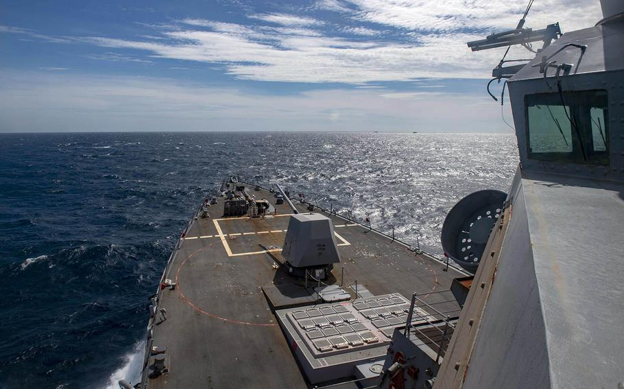 The guided-missile destroyer USS Mustin passes through the Taiwan Strait in the East China Sea, Aug. 18, 2020.