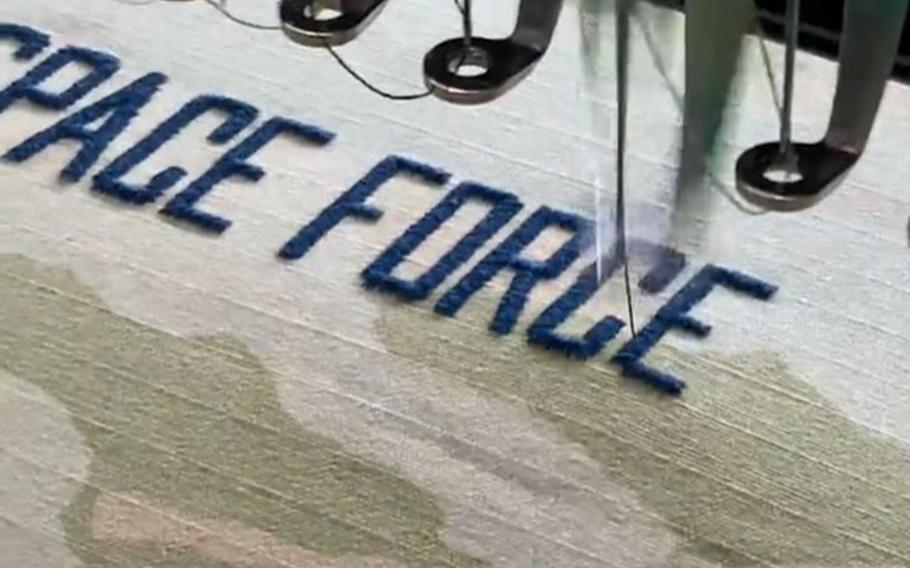 A Space Force service tape is sewn in this image released by the service on Aug. 27, 2020.