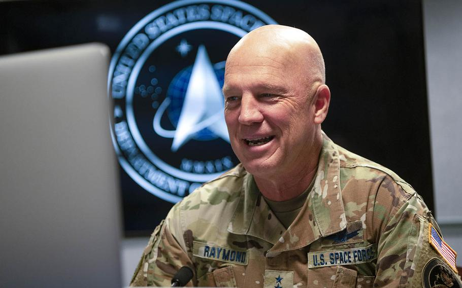 The U.S. Space Force chief of space operations, Gen. John Raymond, participates in a virtual fireside chat with the Center for a New American Security at the Pentagon, July 24, 2020.