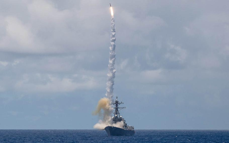 The guided-missile destroyer USS Chung-Hoon launches an SM-2 missile during the Rim of the Pacific exercise in the Pacific Ocean, Aug. 23, 2020. Valerie LeClair/U.S. Navy