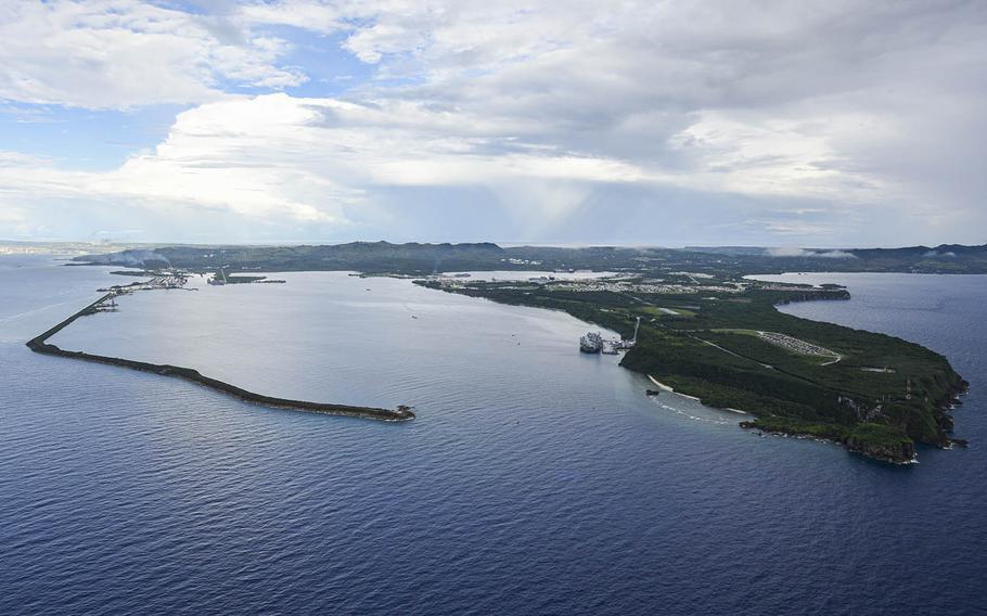 This aerial view of Naval Base Guam shows Apra Harbor on Aug 24, 2020. MacAdam Kane Weissman/U.S. Navy