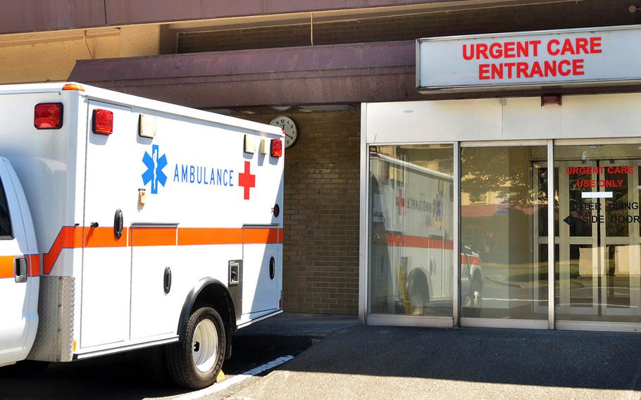 The urgent care entrance for the 374th Medical Group at Yokota Air Base in western Tokyo.