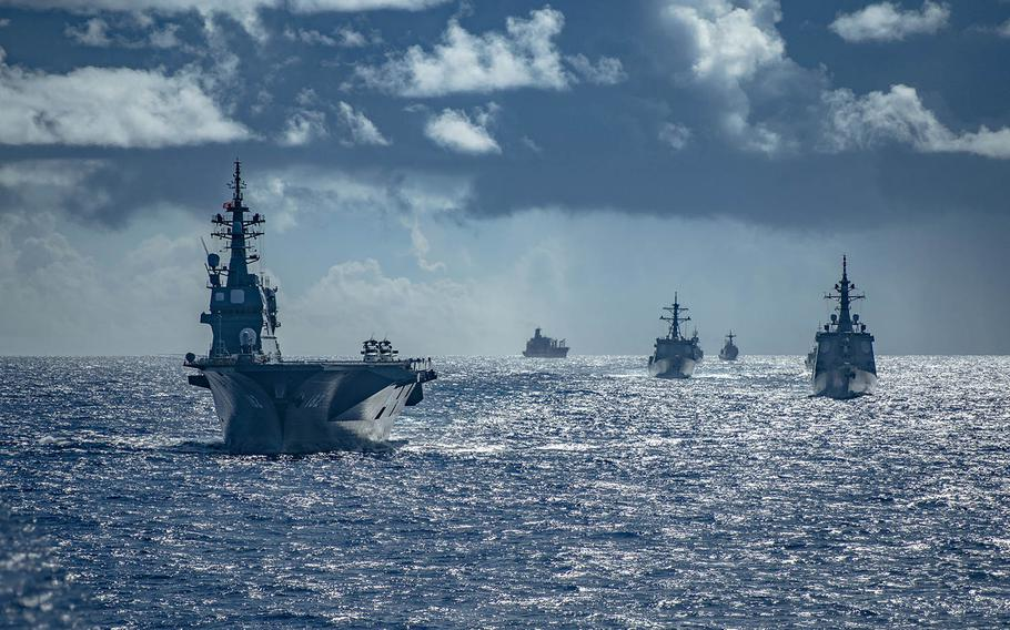 Warships from the United States, Australia, Japan and South Korea are training together during exercise Pacific Vanguard, which started Saturday, Sept. 12, 2020, near Guam.