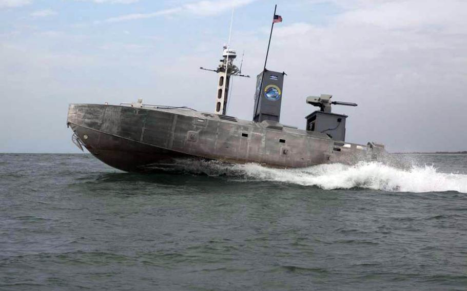 An expeditionary warfare unmanned surface vessel sails a predetermined course during an advanced naval technology exercise near Camp Lejeune, N.C., July 12, 2019.