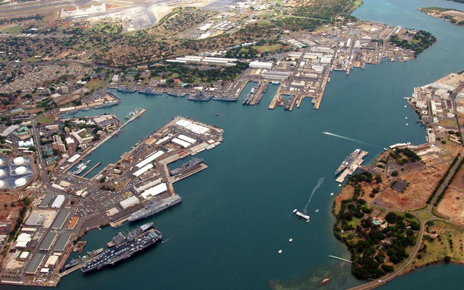 The Navy has proposed rebuilding a submarine dry dock at Pearl Harbor Naval Shipyard, shown in the uppermost peninsula in this undated photograph of Pearl Harbor, Hawaii.