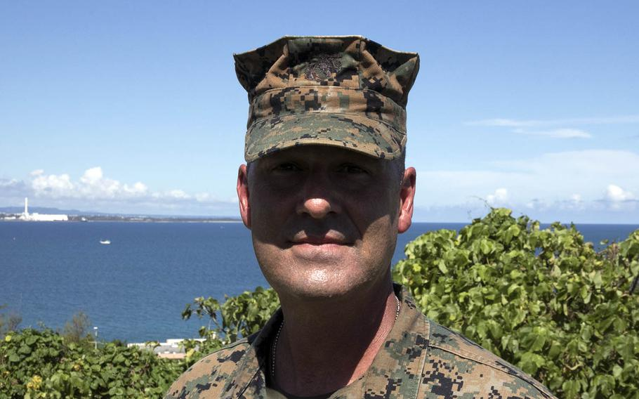 Sgt. Maj. Michael P. Woods, the new sergeant major for III Marine Expeditionary Force, poses for a photo at Camp Courtney, Okinawa, Sept. 11, 2020.