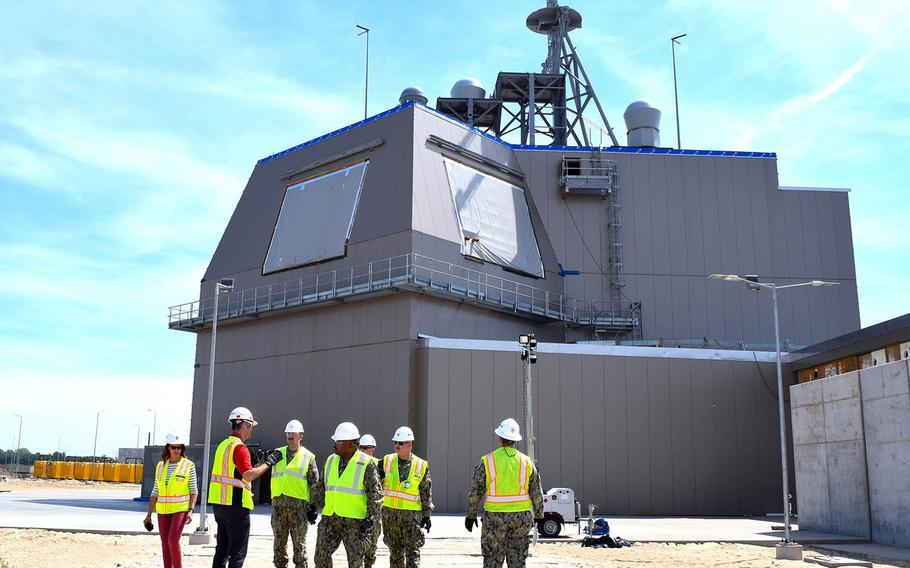 U.S. sailors visit an Aegis Ashore missile defense system in Poland, June 25, 2019.