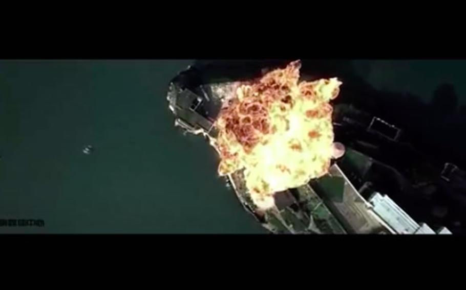 """A video released by the Chinese air force on Saturday, Sept. 19, 2020, appears to include footage taken from the 1996 Hollywood film """"The Rock."""""""