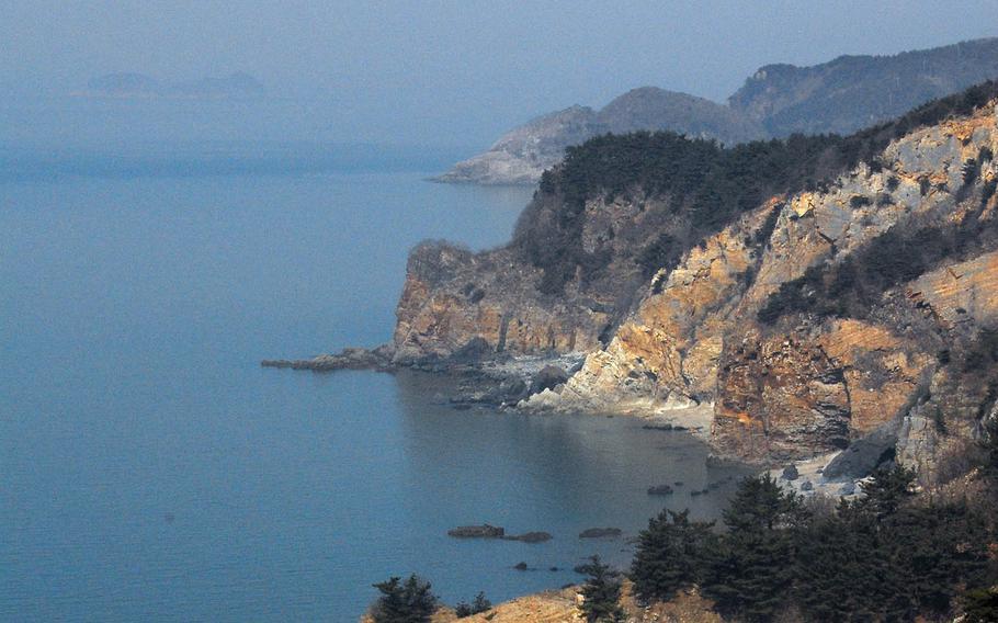 The rugged coastline of Yeonpyeong Island, facing North Korea, on Feb. 29, 2012.