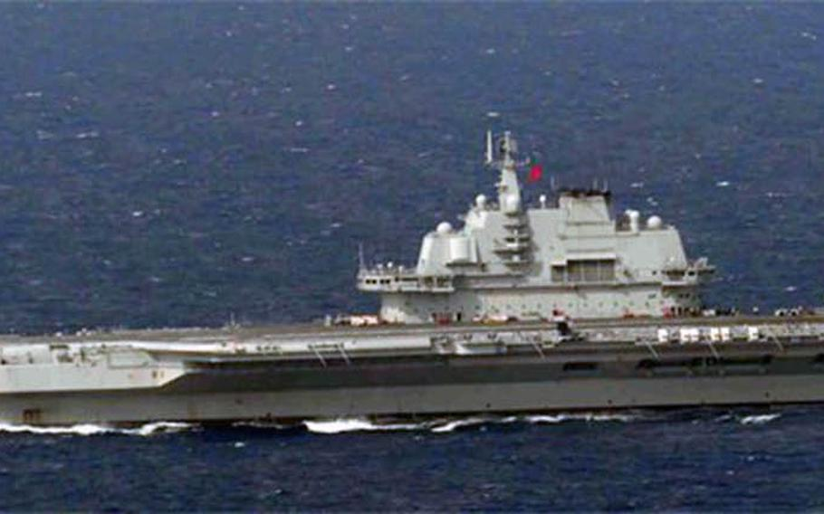 The Chinese aircraft carrier Liaoning, shown here April 28, 2020, was at sea conducting exercises in September 2020 while a second carrier, the Shandong, was also at sea.