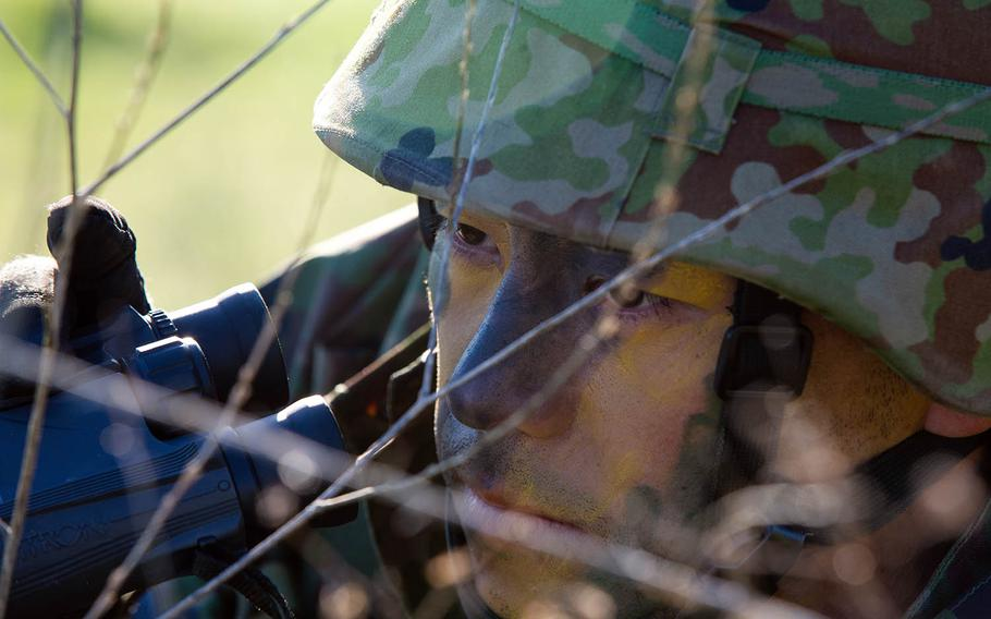 A Japan Ground Self-Defense Force soldier from the 1st Amphibious Rapid Deployment Brigade trains at Marine Corps Base Camp Pendleton, Calif., Feb. 6, 2019.
