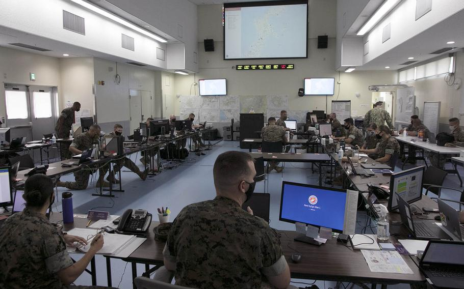 The U.S. military's Joint COVID-19 Response Center on Camp Foster, Okinawa, buzzes with activity on Aug. 27, 2020.