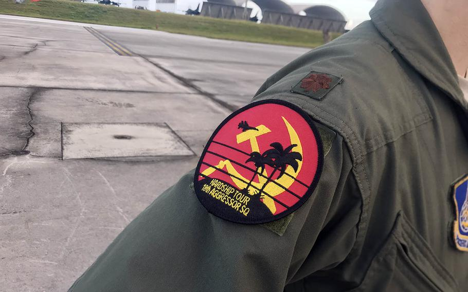 Members of the Air Force's 18th Aggressor Squadron wear Soviet-inspired patches during training at Andersen Air Force Base, Guam, in February 2020.