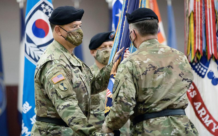 """Lt. Gen. Willard """"Bill"""" Burleson, left, is Eighth Army's new commanding general following a change-of-command ceremony on Camp Humphreys, South Korea, on Oct. 2, 2020."""