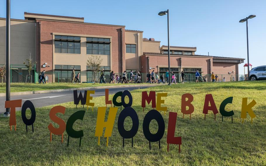 A colorful sign welcomes students to Osan Elementary School on Osan Air Base, South Korea, Monday, Oct. 5, 2020.