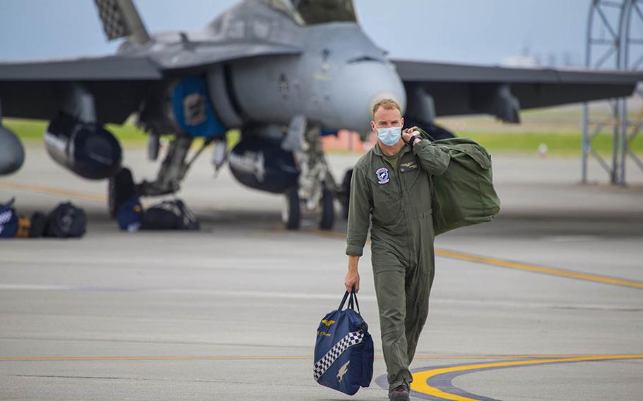 Capt. Nathaniel Vigneault, a pilot with Marine All Weather Fighter Attack Squadron 533, arrives at Marine Corps Air Station Iwakuni, Japan, Sept. 17, 2020.