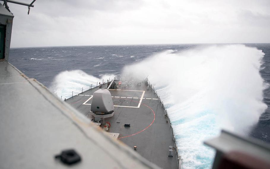 The guided-missile destroyer USS Barry sails through the Taiwan Strait, Wednesday, Oct. 14, 2020.