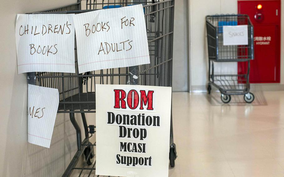 A donation drop for those under restriction of movement, or ROM, because of the coronavirus pandemic is seen at Marine Corps Air Station Iwakuni, Japan, March 19, 2020.