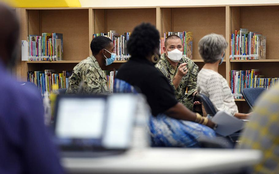 Local military leaders participate in a COVID-19 tabletop exercise with Department of Defense Education Activity at William C. McCool Elementary and Middle School, Oct. 1, 2020.