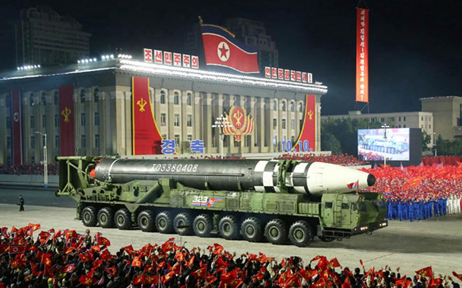 North Korea shows off what appears to be its largest intercontinental ballistic missile during a military parade on Oct. 10, 2020.