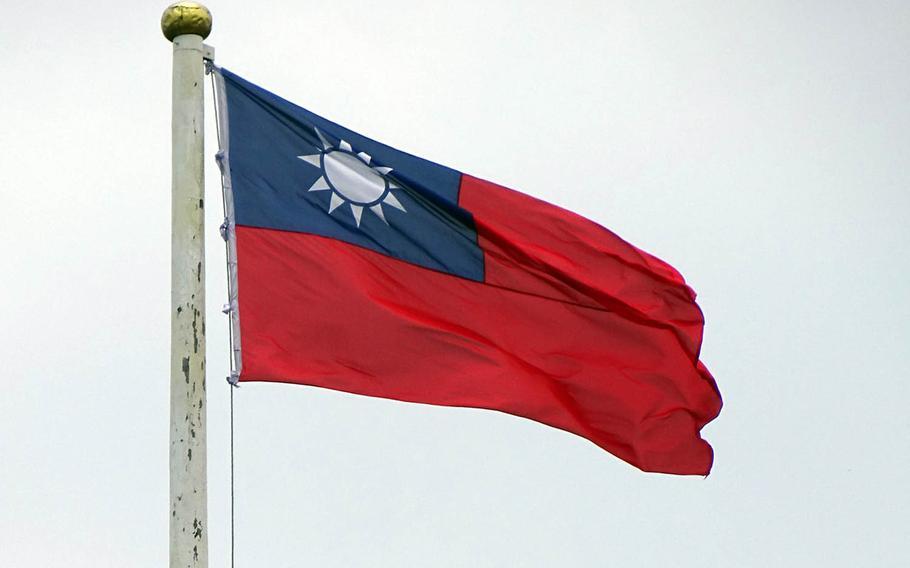 A Taiwanese flag flies over Taipei.