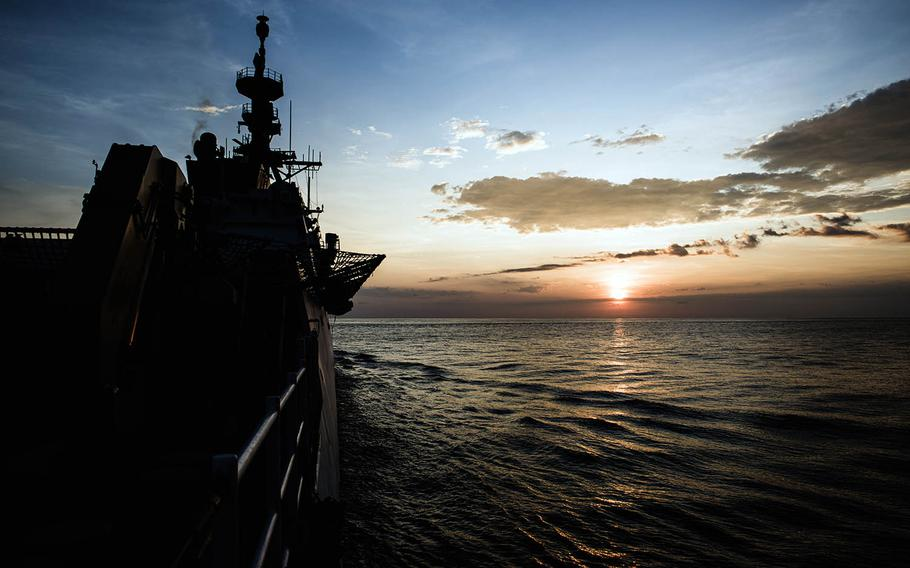 The U.S. Coast Guard's first Legend-class national security cutter, the Bertholf, transits in the Pacific Ocean, Nov. 16, 2019.