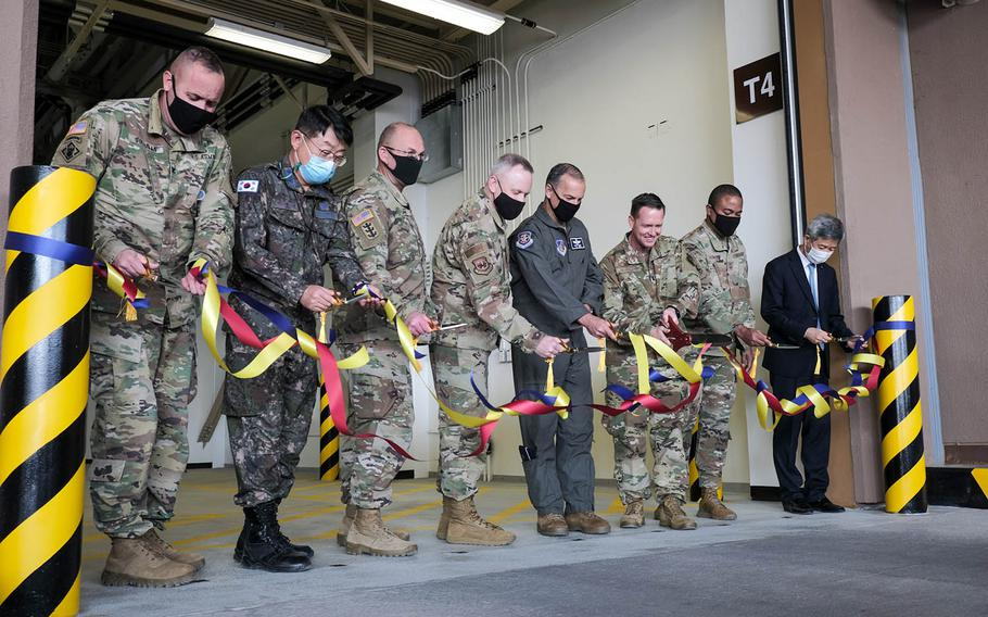 A new, $34 million air freight terminal opened at Osan Air Base, South Korea, Monday, Oct. 26, 2020, part of a two-phase project to update aged and inadequate base facilities.