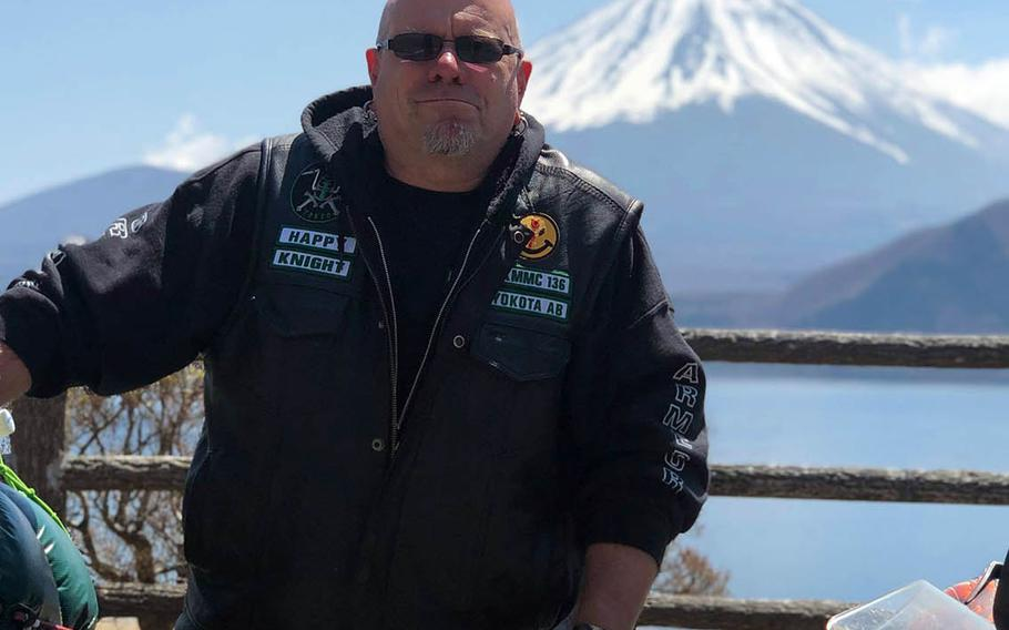 Peter James Davidson Jr., 51, a former airman and a member of the Green Knights motorcycle club, died after his sport bike collided with a minivan in western Tokyo, Saturday, Oct. 31, 2020.