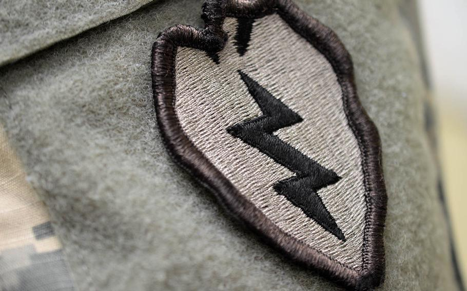 A 25th Infantry Division patch is pictured in 2015 at Schofield Barracks, Hawaii.
