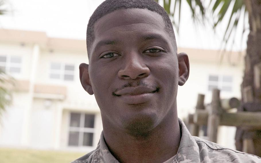 Airman 1st Class Leonard Cantrell Jr., 28, seen here at Kadena Air Base, Okinawa, Nov. 5, 2020, was recently awarded the Air Force Achievement Medal for rescuing a Japanese family in distress at an Okinawa waterfall.