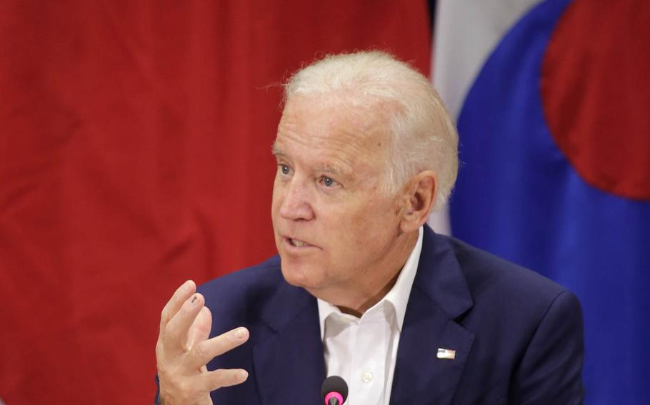 Then-Vice President Joseph Biden discusses the the U.S.-Japan-South Korea relationship during a trilateral meeting at the Daniel K. Inouye Asia-Pacific Center for Security Studies in Honolulu, Hawaii, July 14, 2016.