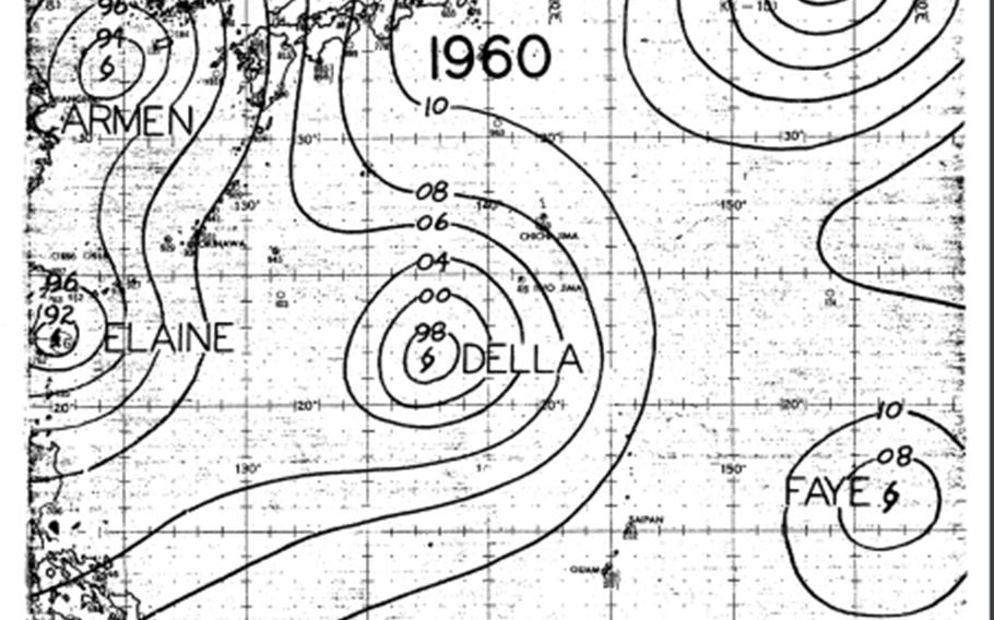 Depicted on the cover of the Joint Typhoon Warning Center's 1960 annual tropical cyclone report are Typhoons Bess, Carmen, Della, Elaine and Faye, which were all active between Aug. 22-24, 1960 – the last time five tropical cyclones were active in the Pacific Ocean at any one time.