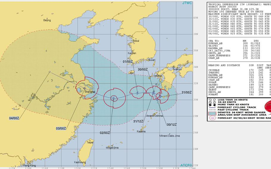 Not much change at the moment. Jongdari remains a tropical depression and on a southwesterly path, but the Joint Typhoon Warning Center's latest forecast track calls for a loop around to the west and toward China.