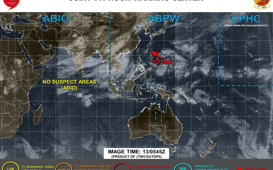 Final warning has been issued on Tropical Depression 06W, forecast to dissipate south of Okinawa late Thursday.