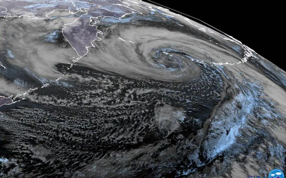 A satellite view of the powerful Pacific storm.