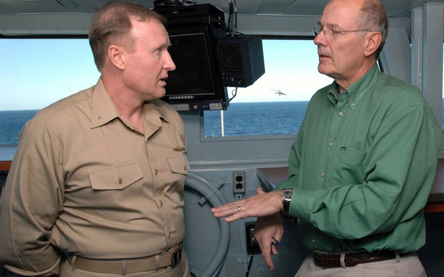 U.S. Navy Rear Adm. Frank Pandolfe, then commander of Carrier Strike Group 2, speaks with Harry Smith of CBS News in the flag bridge of USS Theodore Roosevelt while under way in the Gulf of Oman in November, 2008. Pandolfe has been nominated to be the next commander of the Navy's 6th Fleet