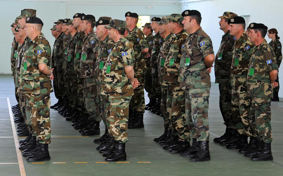 Kosovo Security Force NCOs stand in formation at their senior NCO course graduation ceremony at a KSF base in Ferizaj, Kosovo, last year. NATO has announced that the KSF has reached full operational capability, a key milestone for Kosovo, which hopes to join NATO one day.