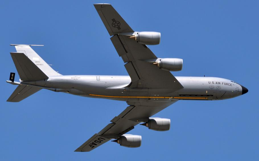 This file photo from May 2013, shows a KC-135 Stratotanker as it soars over the flightline at McConnell Air Force Base, Kan.